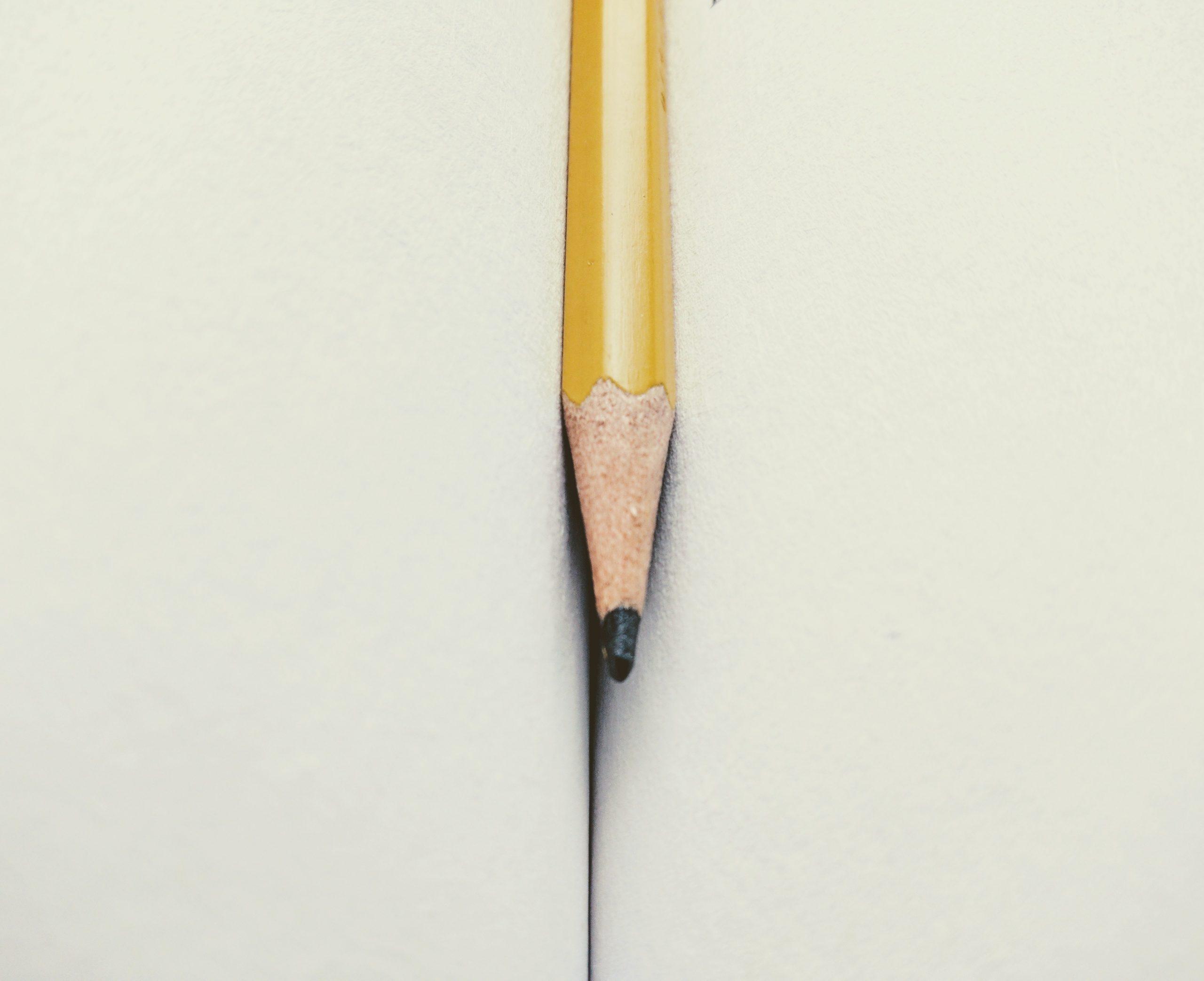 potlood in schrift